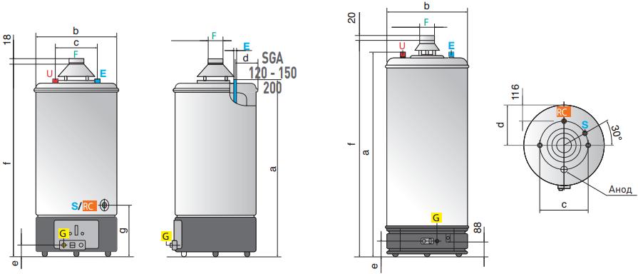 Водонагреватели газовые SGA 200 R 1